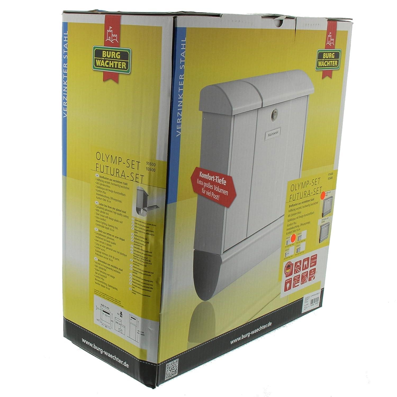 BURG-W/ÄCHTER Briefkasten-Set mit integriertem Zeitungsfach Wei/ß A4 Einwurf-Format Verzinkter Stahl Olymp-Set 91600 W EU Norm EN 13724