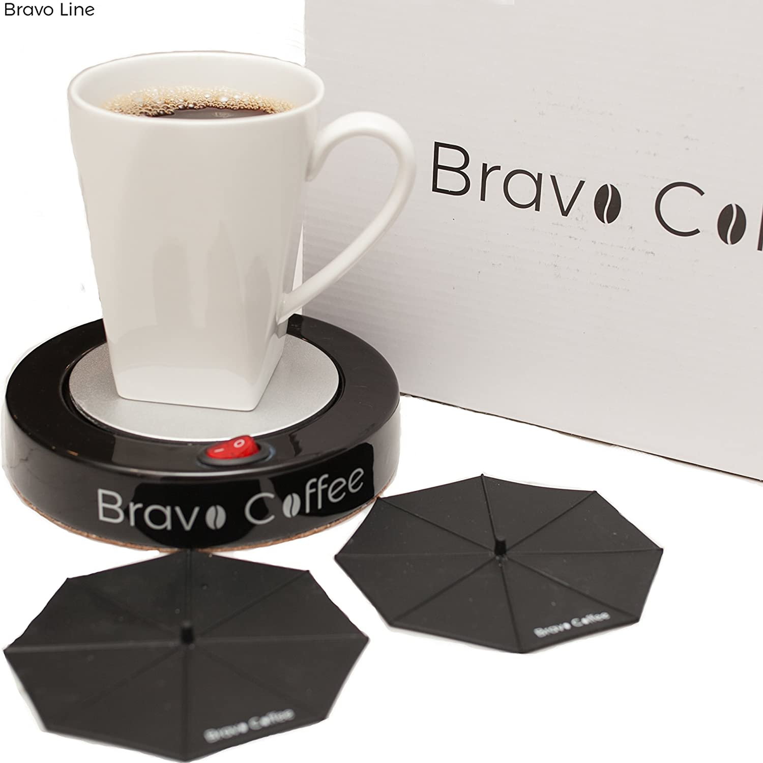 Electric Personal Coffee Mug & Beverage Warmer For Desk, 3.87 Diameter with 2 Bonus Drink Covers :: Large Heat Plate Fits All Cups and Mugs :: Automatic Shutoff for Safety by Bravo Line