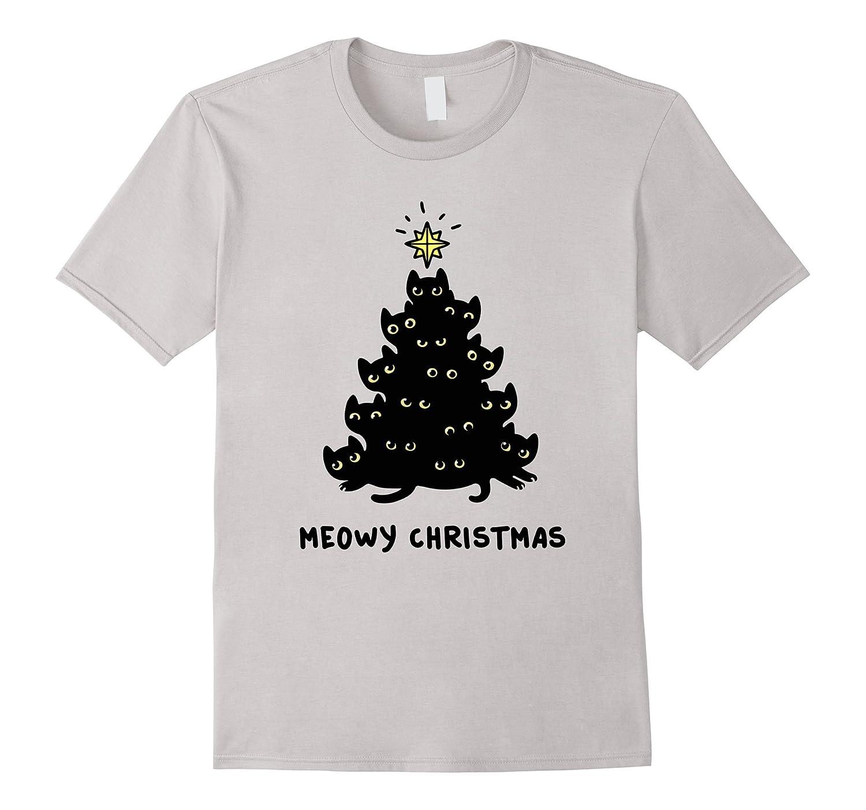 adeeb50fa Black cat Tree Christmas T shirt Meowy Christmas tee-Art – Artvinatee