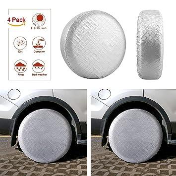 Kohree - Juego de 4 Cubiertas de neumáticos para Rueda de Coche, Protector Solar,