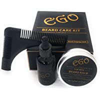 Premium Beard Grooming Kit. Natural Organic Unscented Beard kit. Includes Beard Oil, Beard Balm and Beard shaping comb - The perfect gift kit