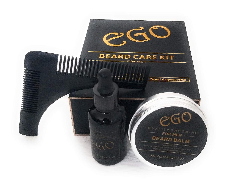 Premium Beard Grooming Kit. Natural Organic Unscented Beard kit. Includes Beard Oil, Beard Balm and Beard shaping comb - The perfect gift kit Everything Natural