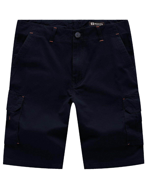 WenVen Men's Big & Tall Multi Pocket Cargo Shorts wvmena00017