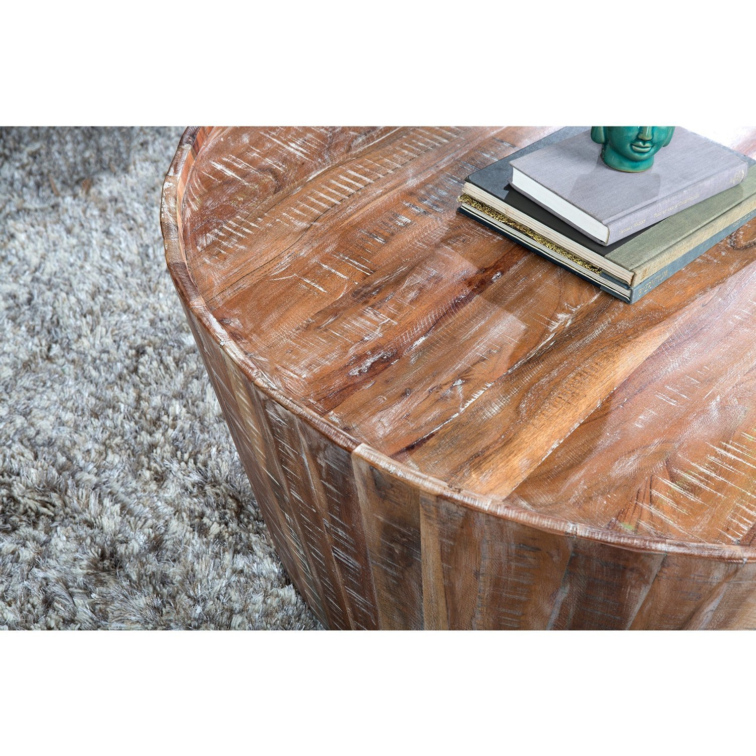 amazon com contemporary rustic distressed wood 38 inch round