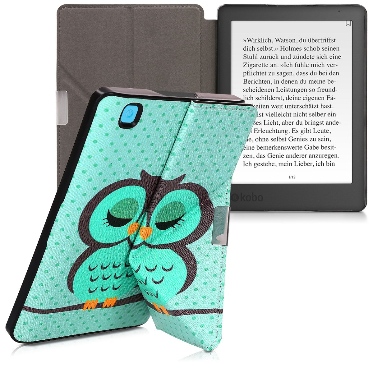 kwmobile Cover case for Kobo Aura Edition 2 with stand - Ultra slim case made of synthetic leather Sleeping Owl in turquoise brown mint by kwmobile (Image #9)