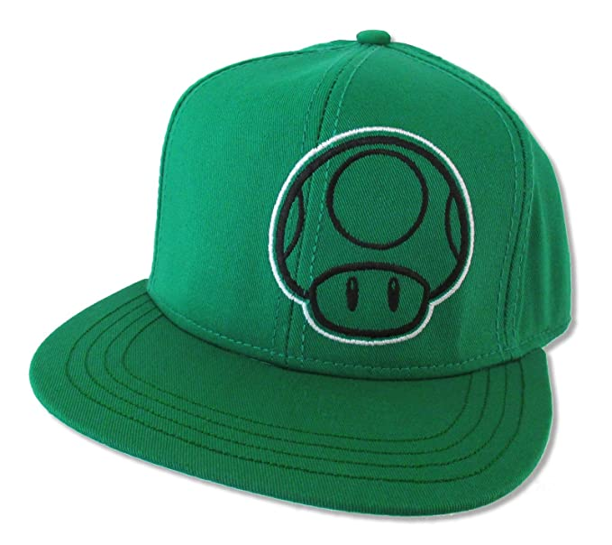 dbbe8061706 Image Unavailable. Image not available for. Color  Bioworld Super Mario 1  Up Mushroom Green Snapback Cap Hat