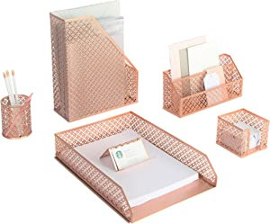 Blu Monaco 6 Piece Rose Gold Desk Organizer Set - Desk Sets- Office Set- Rose Gold Desk Accessories - Desktop Organization