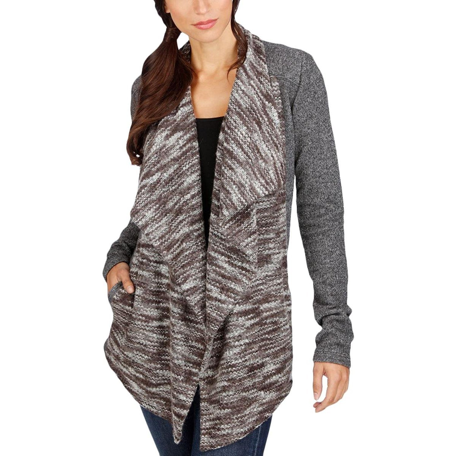 Lucky Brand Womens Mixed Media Marled Cardigan Sweater Gray M