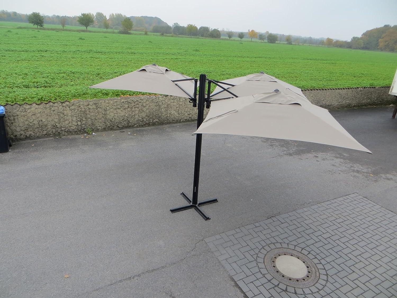 Madison Gastronomie Gartenschirm Murano III mit drei separat verstellbaren Schirmen in taupe, UV-Schutz 40 Plus
