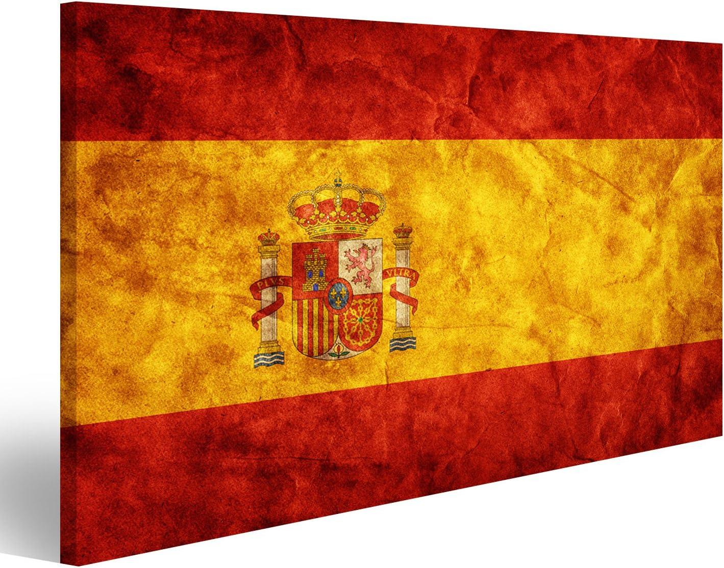 Cuadro Cuadros España Bandera del Grunge, Época de Estilo Retro. Alta resolución, Calidad de Alta definición. artículo Impresión sobre Lienzo - Formato Grande - Cuadros Modernos DJE