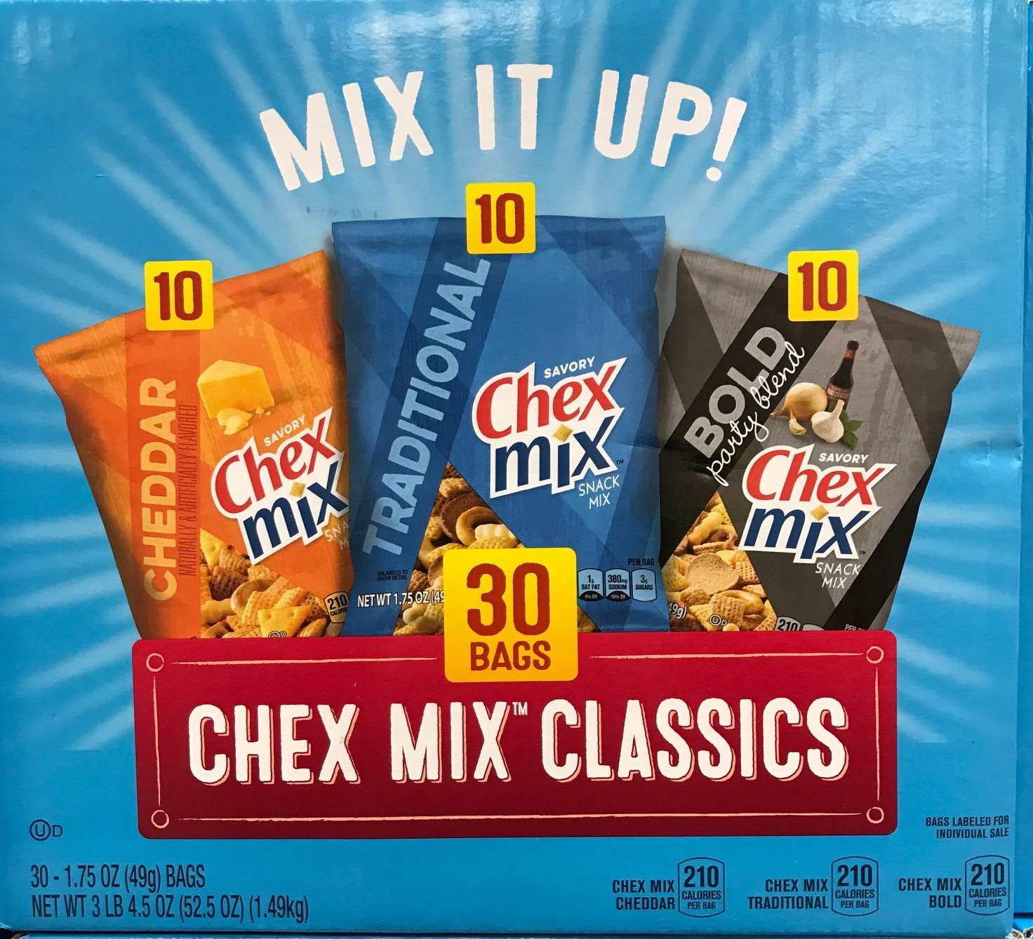 Chex Mix Classics - Cheddar - Traditional - Bold - 30 Bags - Variety Pack! by Chex