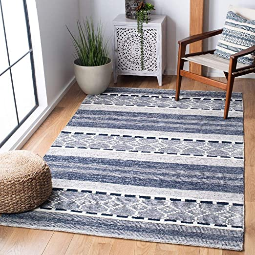 Kelim Striped Rugs Hand Woven Cotton Chenille Made In India Charcoal Floor Mat Sisal Seagrass Area Rugs Universitasfundacion Home Garden