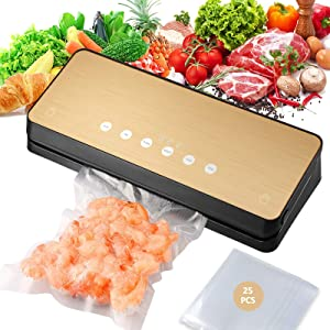 Vacuum Sealer Packing Machine for Foods, Vacuum Sealer with Built-in Cutter for Both Wet and Dry Foods, 25 Vacuum Roll Bags Included, Gift for Mom, Wife, Housewarming, Valentine, Food Saver
