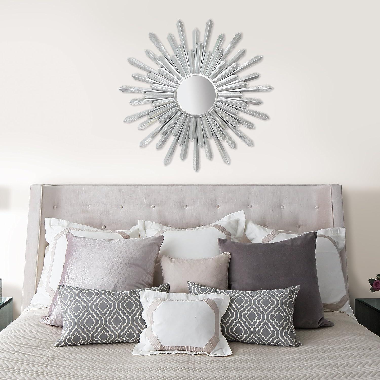 Amazon.de: Fetco Bembury Sunburst Spiegel, Eisen, Silber