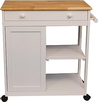 Amazon.com: Knotting Hill carrito de cocina, Madera, Blanco ...