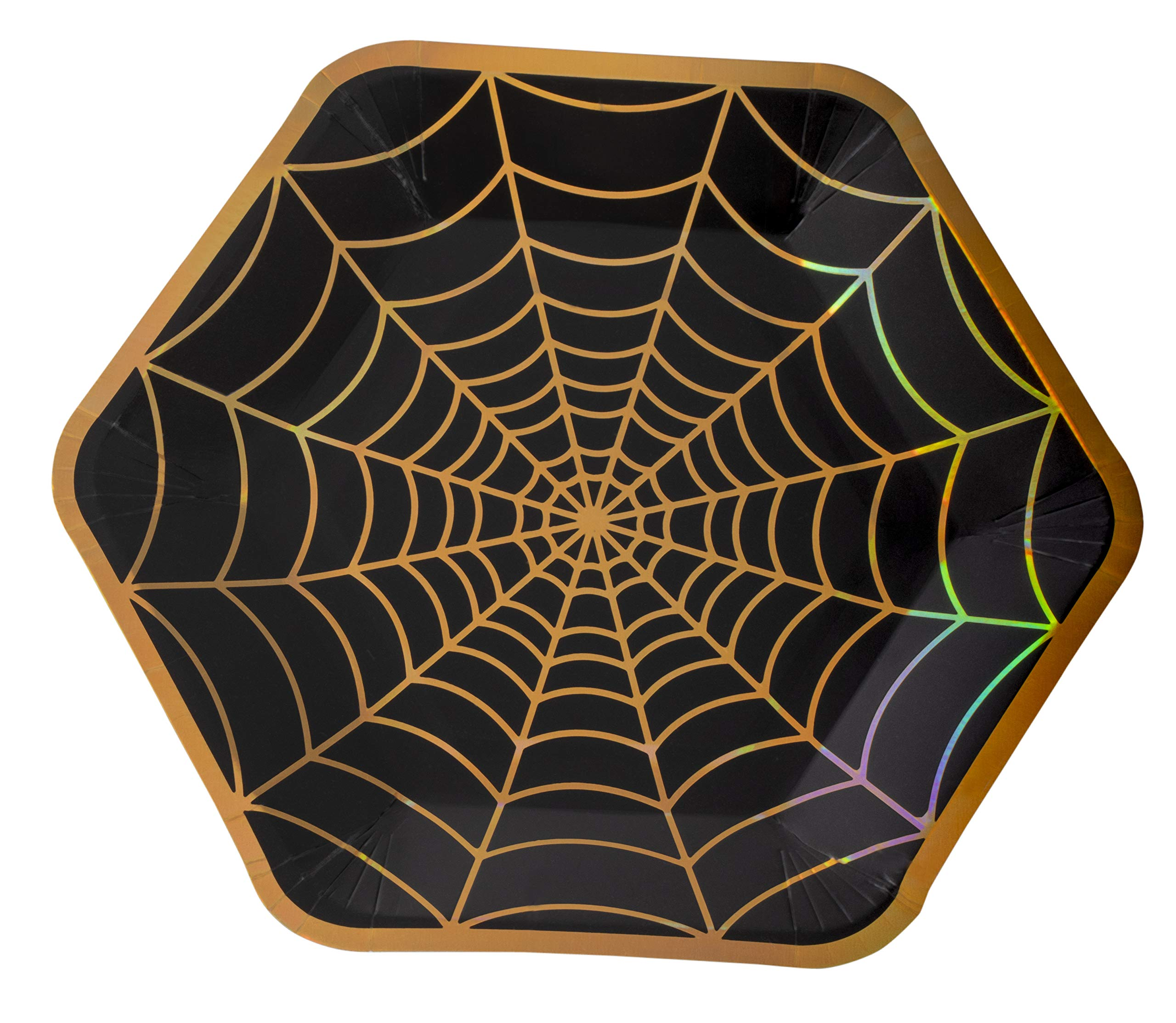 Disposable Plates - 50-Count Black Paper Plates, Hexagon Plates, Halloween Party Supplies for Appetizer, Lunch, Dinner, Dessert, with Holographic Spider-Web Design, 9 x 8 Inches by Blue Panda