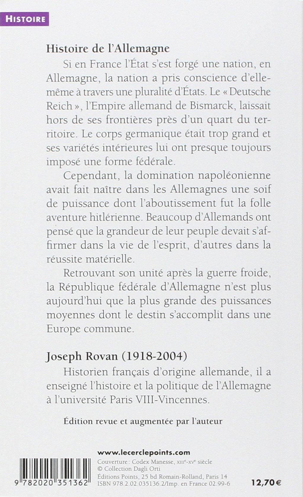 Amazon.fr - Histoire de l'Allemagne des origines à nos jours - Joseph Rovan  - Livres