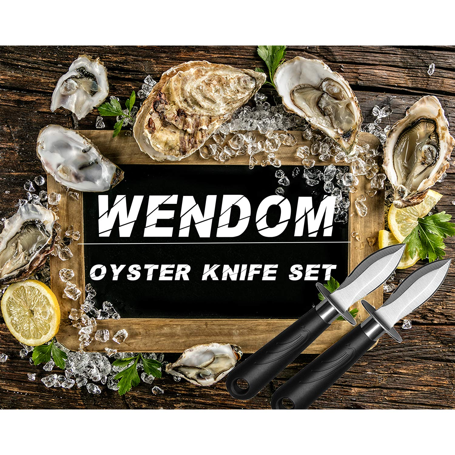 WENDOM Oyster Knife Shucker Set Oyster Shucking Knife and Gloves Cut Resistant Level 5 Protection Seafood Opener Kit Tools Gift(2knifes+1Glove) by WENDOM (Image #5)