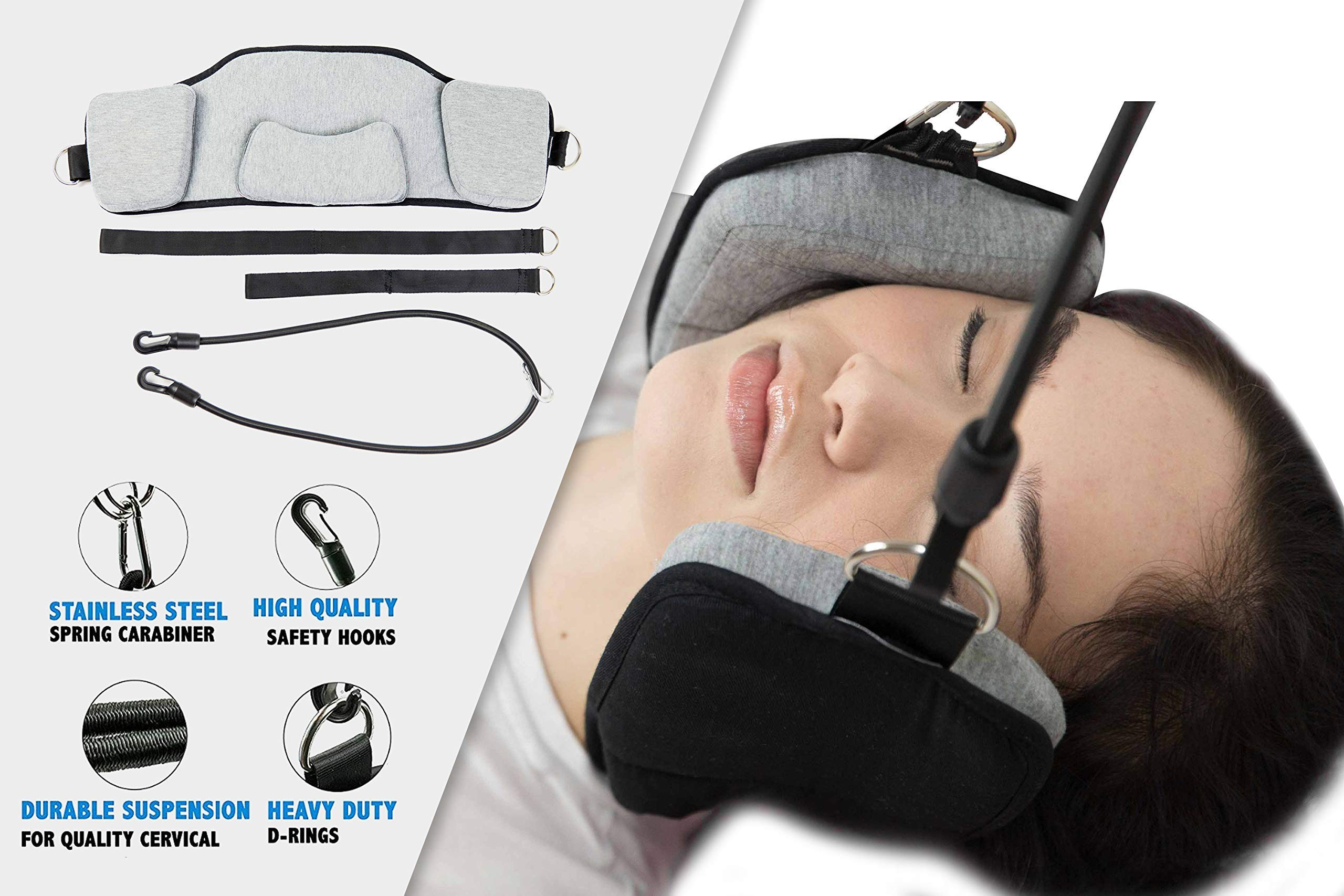 TopChoiceCo Portable Neck Hammock | Cervical Traction for Neck & Back Pain | Relieve Tension, Stress, Muscle Discomfort & Headache | Promote Sleep Relaxation & Better Posture | Easy Install Head Sling