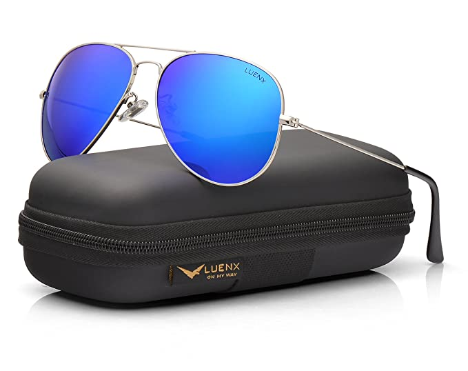 LUENX - Gafas de sol polarizadas de aviador para hombre con funda - UV 400  protección marco de metal Azul 5-Dark blue  Amazon.es  Ropa y accesorios 4107115c8874