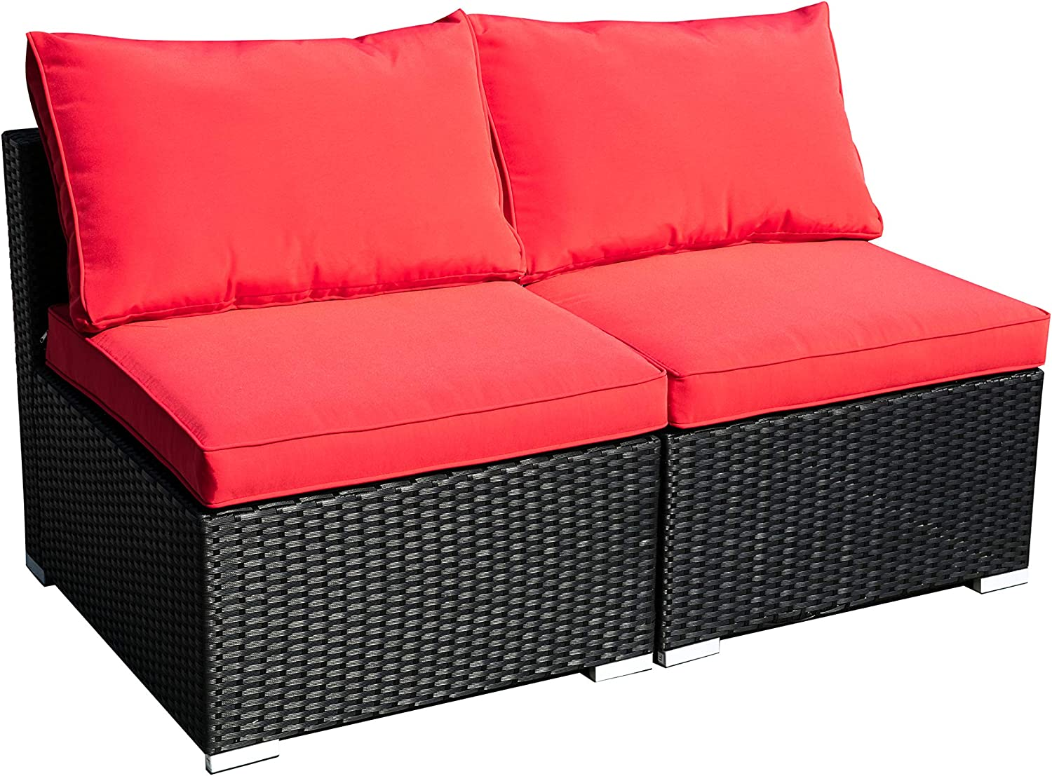 Outdoor Patio Furniture 2-Pieces PE Rattan Wicker Sectional Red Cushioned Sofa Sets with 2 Pillows