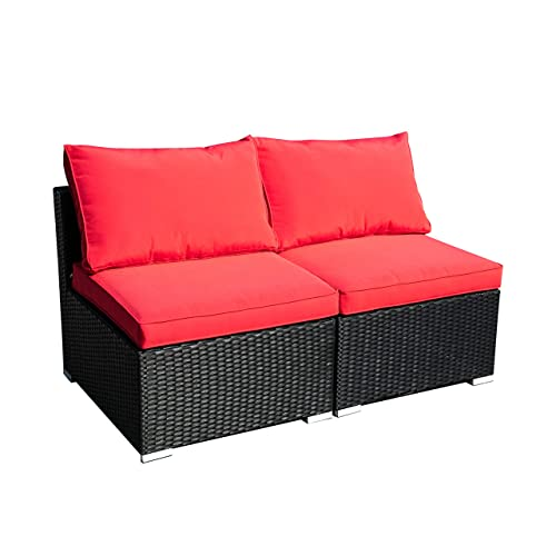 Klismos Outdoor Patio Furniture Set Rattan Wicker Sectional Sofa Conversation Set with Pillows Red 2PCS