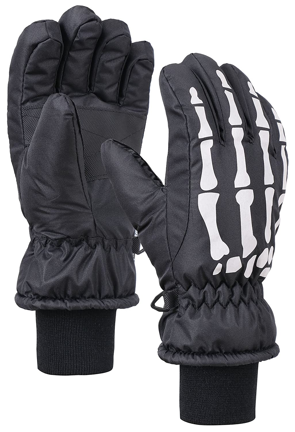 Andorra Kids Glow in the Dark Thinsulate Waterproof Snow Gloves, Skeleton