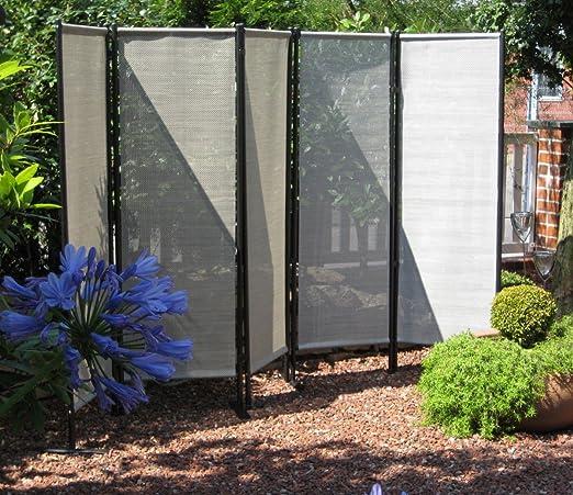 Beauty.Scouts Biombo de 5 piezas Sabra VII biombos Privacidad separador 250 x 156 cm Jardín Natural Gris: Amazon.es: Jardín