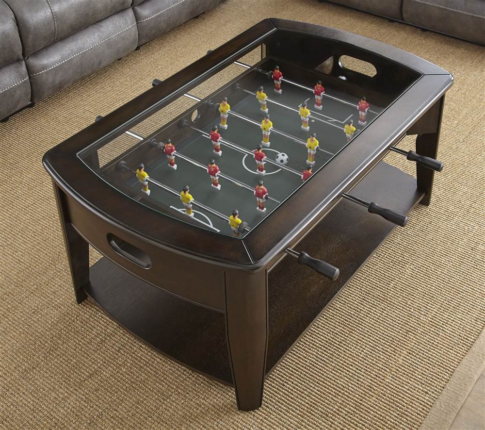 Amazon foosball soccer game wooden coffee table with tempered cocktail table with foosball geotapseo Image collections