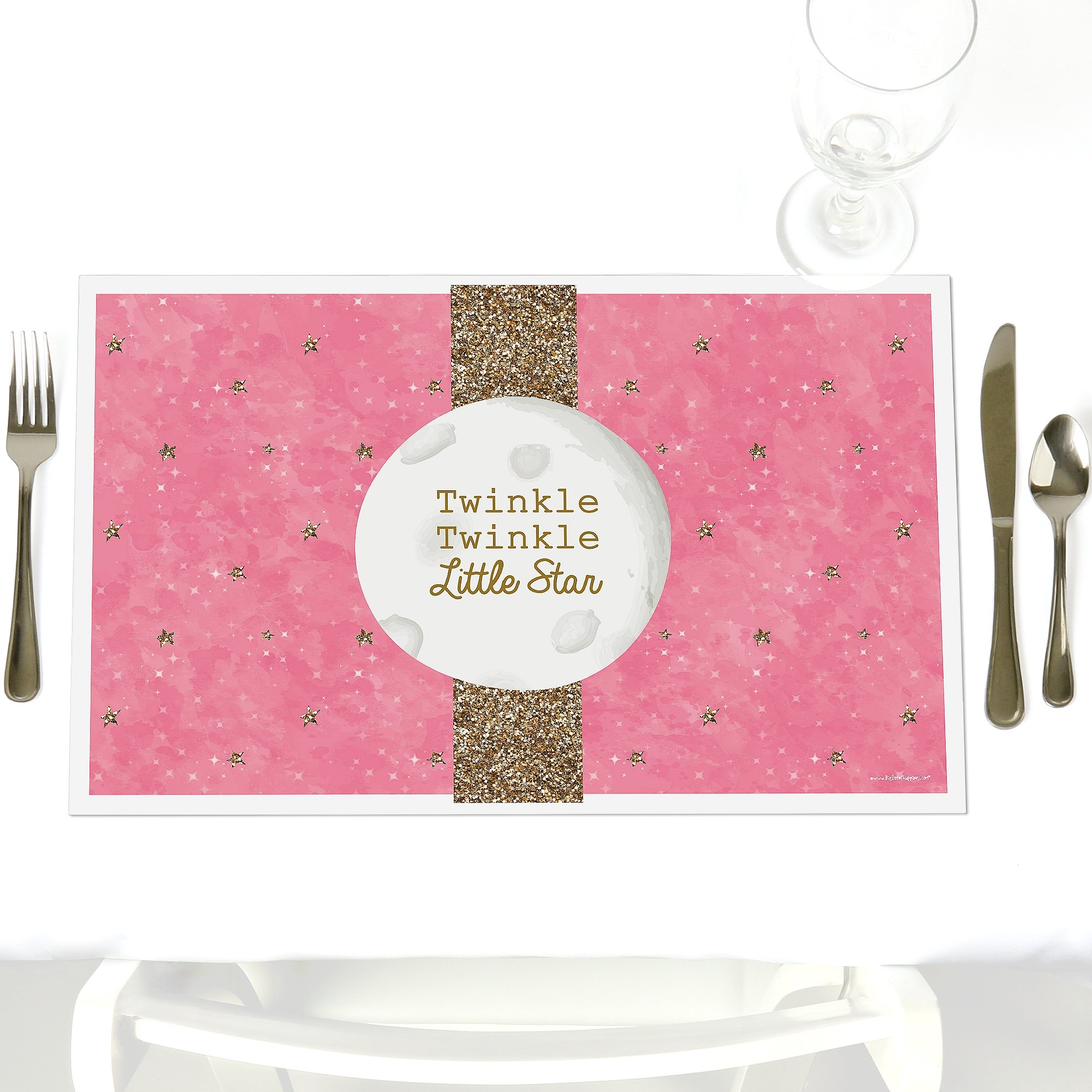 Pink Twinkle Twinkle Little Star - Party Table Decorations - Baby Shower or Birthday Party Placemats - Set of 12 by Big Dot of Happiness