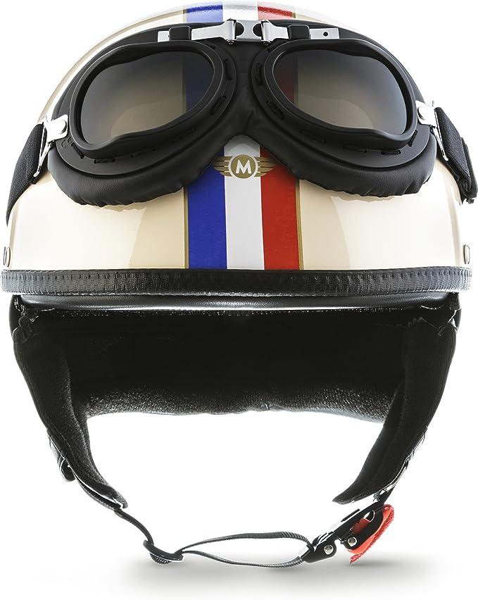 "Amazon.es: MOTO Helmets® D22-Set ""France"" · Brain-Cap · Casco Moto Demi-Jet Motocicleta Scooter Urbano Helmet Urban Retro Chopper Cruiser Bobber Vintage Piloto Biker Pilot Chica Mujer hombre · XXL (63-64cm)"