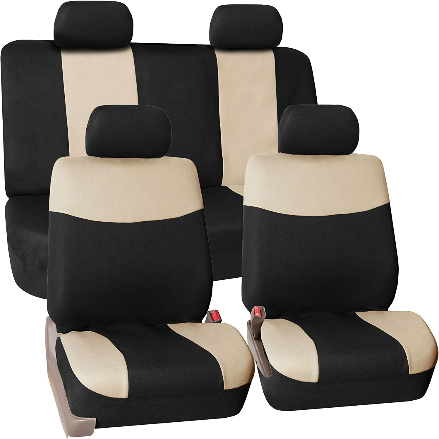 FH Group Stylish Cloth Full Set Car Seat Covers - Fit Most Car, Truck, SUV Van