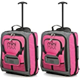 MiniMAX Childrens/Kids Luggage Carry On Trolley Suitcase with Backpack and Pouch for your Favourite Doll/Action Figure/Bear (2 x Pink)