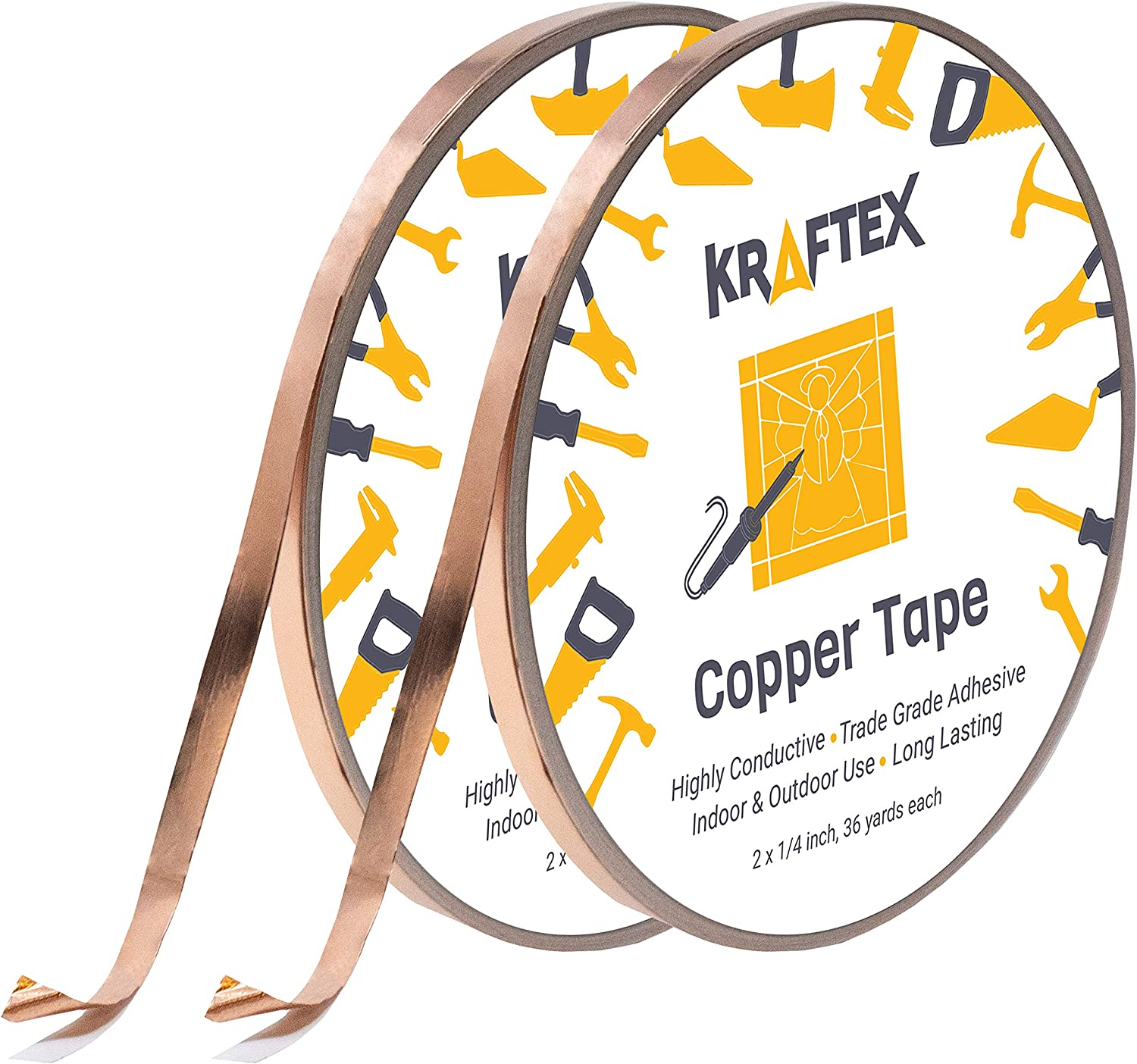 2x Copper Tape With Conductive Adhesive 33m X 6mm 66m Set For Stained Glass Paper Circuits Soldering Tape For Soldering Electrical Repair Tape Emi Shielding Tape Extra Long Copper