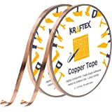 Copper Foil Tape [2 Huge Rolls] (1/4inch X 36yd Each) 72 Yard Pack with Conductive Adhesive - Stained Glass, Soldering…