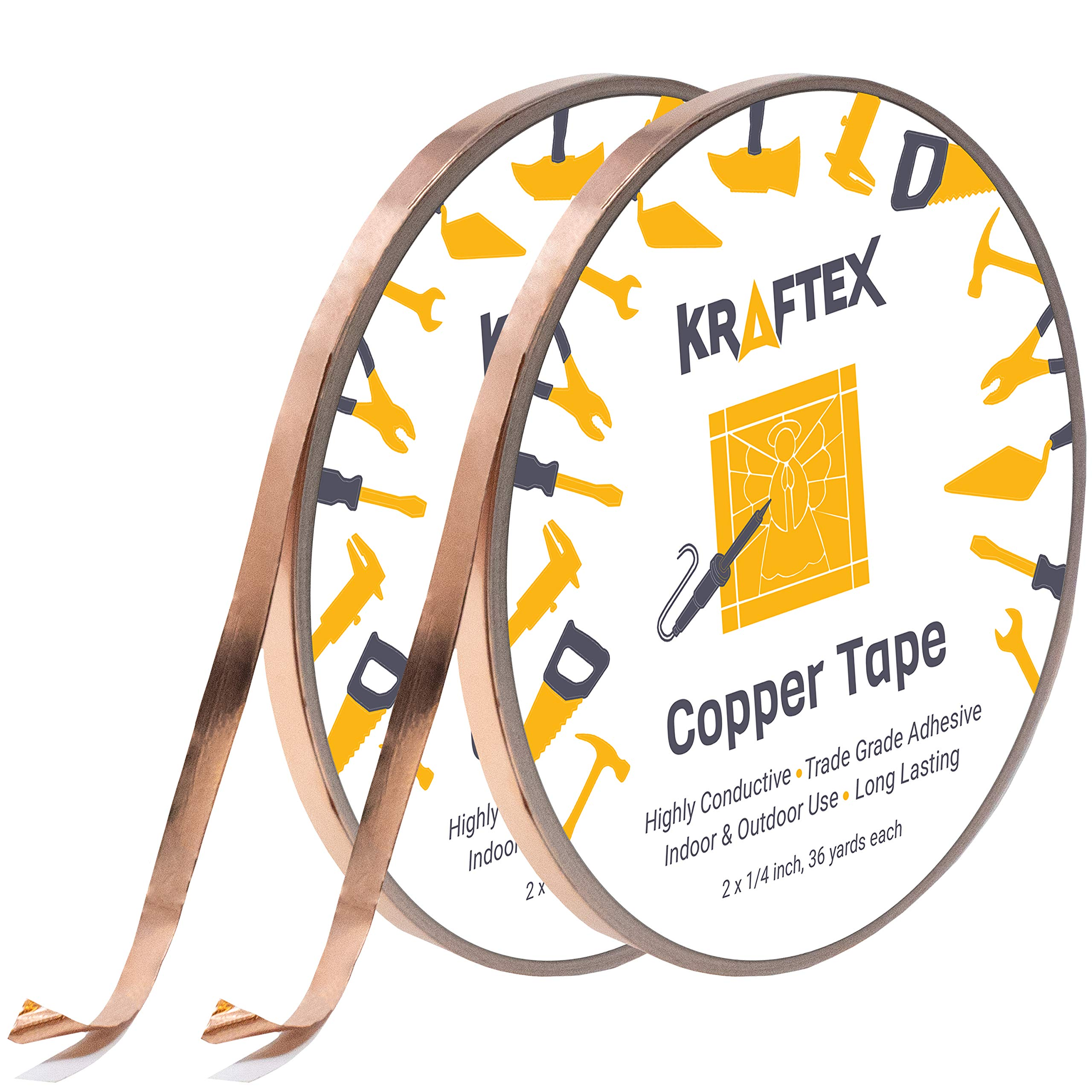 Copper Foil Tape [2 HUGE ROLLS] (1/4inch X 36yd each) 72 Yard Pack with Conductive Adhesive - Stained Glass, Soldering, Electrical Repair, Grounding, EMI Shielding - Extra Value Pack- Thicker Foil