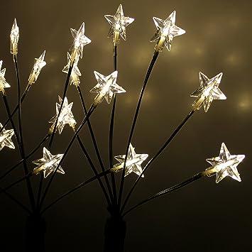 Weihnachtsbeleuchtung Zum Stecken.Multistore 2002 4x Led Garten Leuchtstäbe Sternenstäbe 66cm 24 Led Lichter Mit Erdspieß Außendekoration Außenbeleuchtung Gartenbeleuchtung