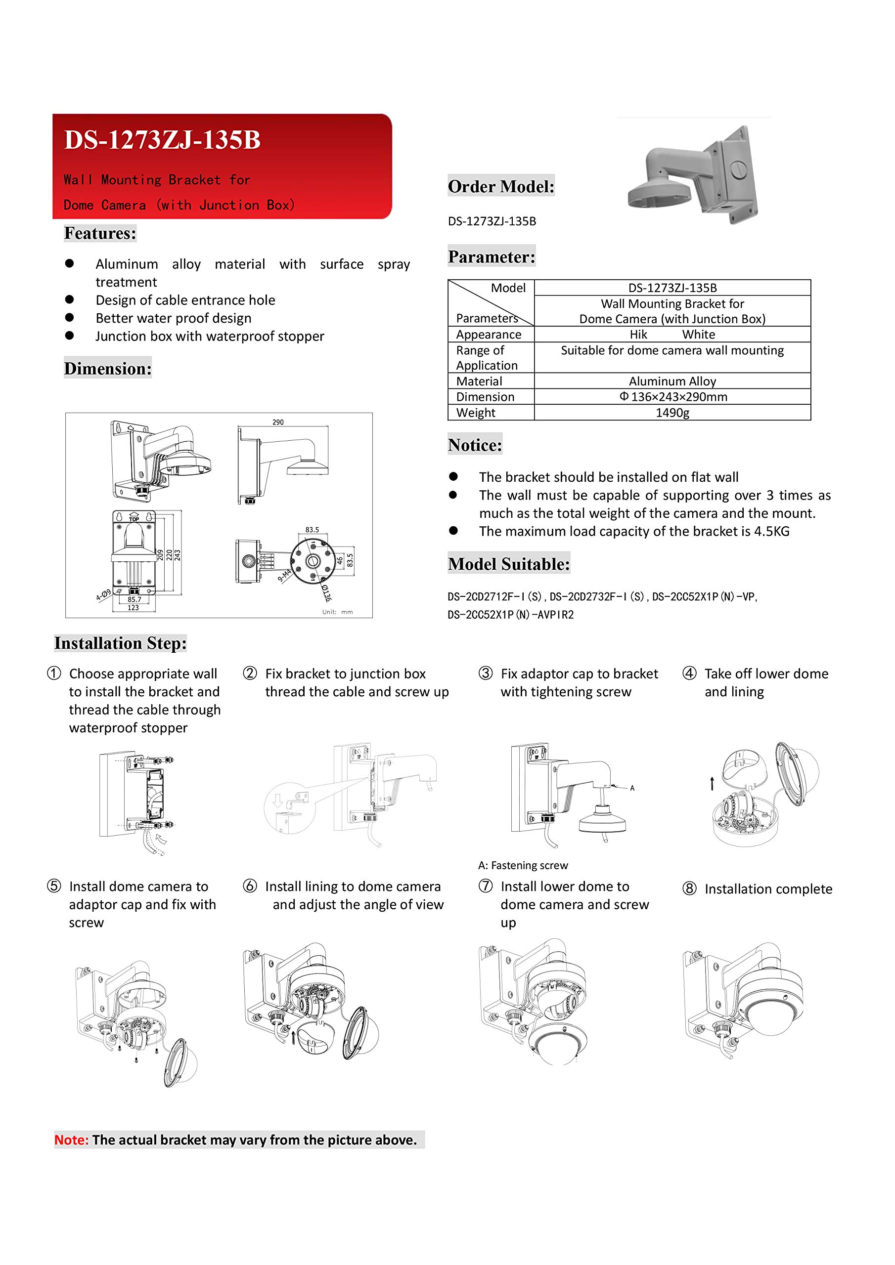 WMS WML PC135B DS-1273ZJ-135B Wall Mounting Bracket with Junction Box for Hikvision Vandal Proof Dome Camera DS-2CD27x2WMS WML PC135 by Kenuco