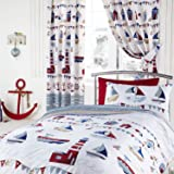 """Nautical Blue & White 66"""" Wide x 54"""" Drop Lined Curtains - Boats, Ships, Lighthouse"""