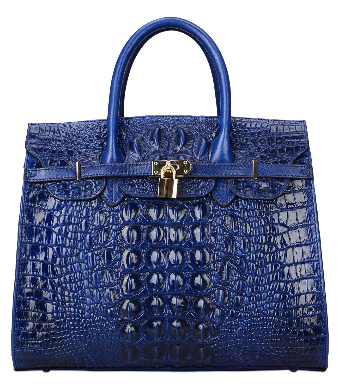 PIJUSHI Crocodile Handbags And Purses Satchel Office Padlock Handbag For Women 22130 blue