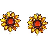 Rhodium Plated Sterling Silver Multicolor Amber Flower Stud Earrings