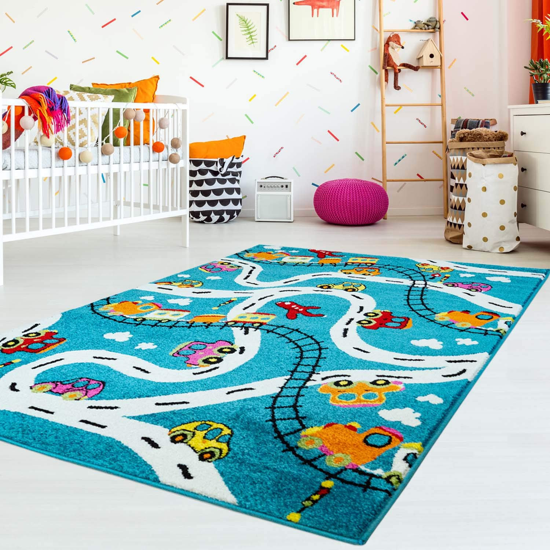 Carpet city Kinderteppich Flachflor Moda Kids mit Autos, Straßen, Eisenbahn, Flugzeug in Türkis Größe 160 225 cm