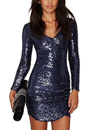 HAOYIHUI Women s V Neck Sparkly Sequin Long Sleeve Bodycon Party Dress(S 9a11bb4e1