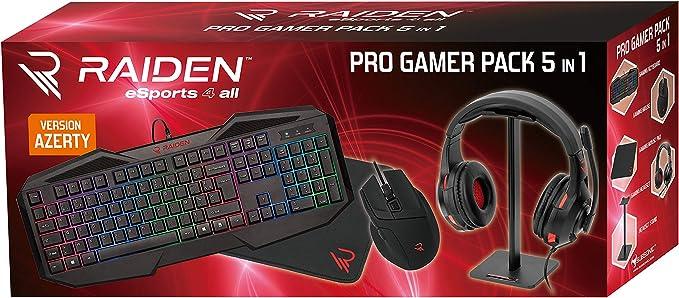 - Raiden - Paquete de accesorios de juego 5 en 1 para PC - Teclado AZERTY - Ratón - Alfombrillas de ratón - Soporte para auriculares y audífonos ...