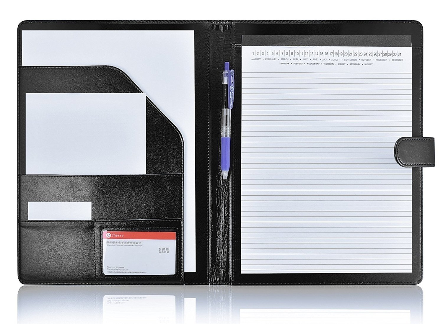 Padfolio Portfolio Resume Folder with Pocket, Premium Faux Leather Interview Writing Legal Pads Document Organizer Portfolio with Business Card Holder (Black)
