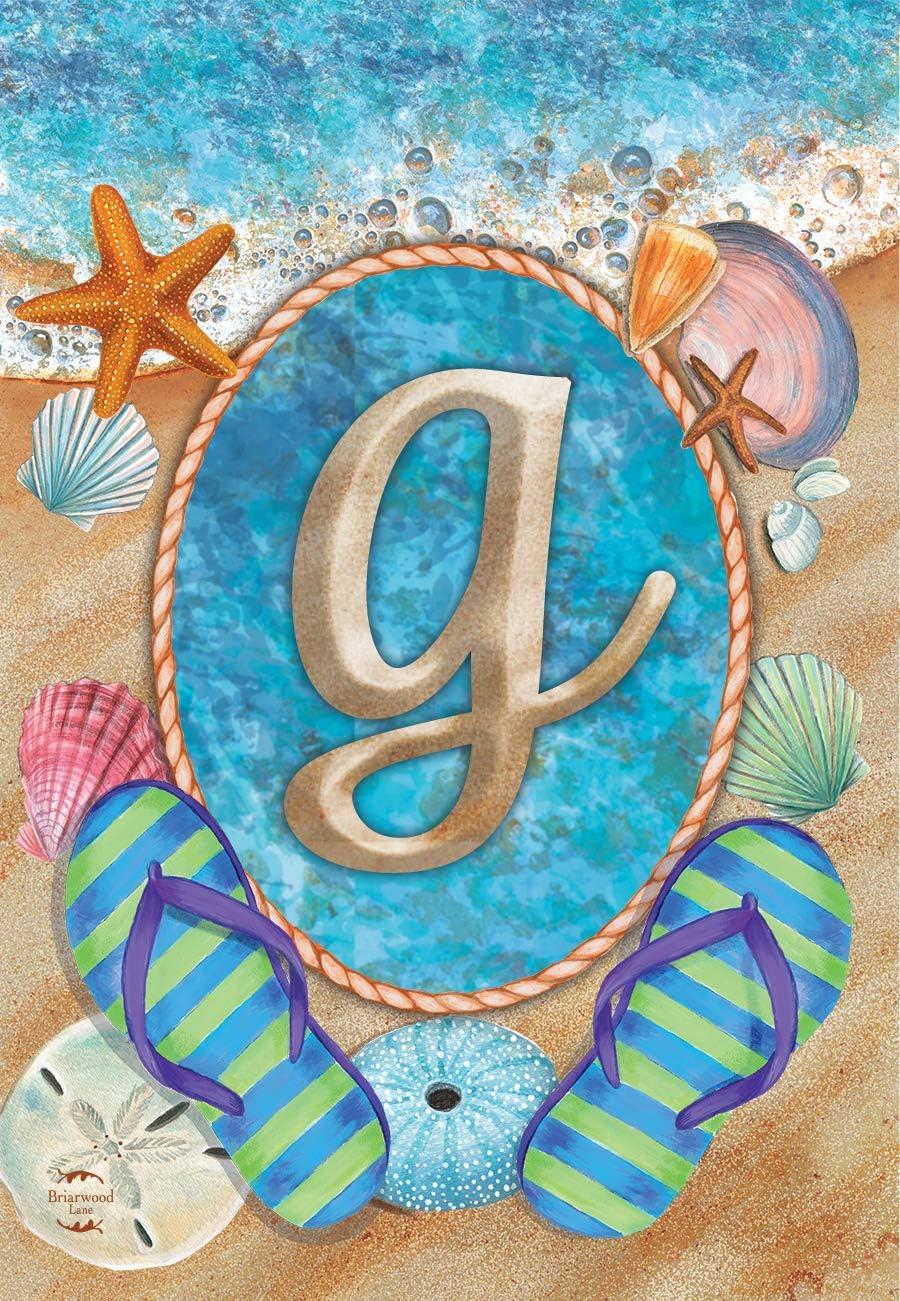 Briarwood Lane Summer Monogram Letter G Garden Flag Flip Flops Seashells 12.5
