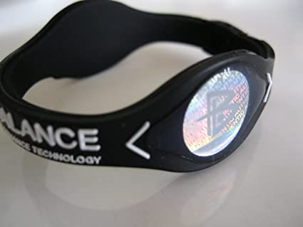 Power Balance Silicone Wristband Bracelet LARGE Black with White Letters
