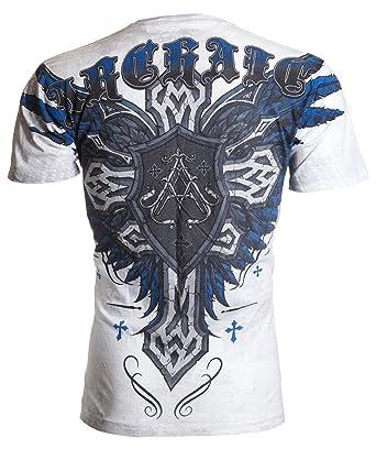 1056722a Archaic AFFLICTION Mens T-Shirt WRATH Cross Wings Tattoo Biker MMA UFC  (Medium)