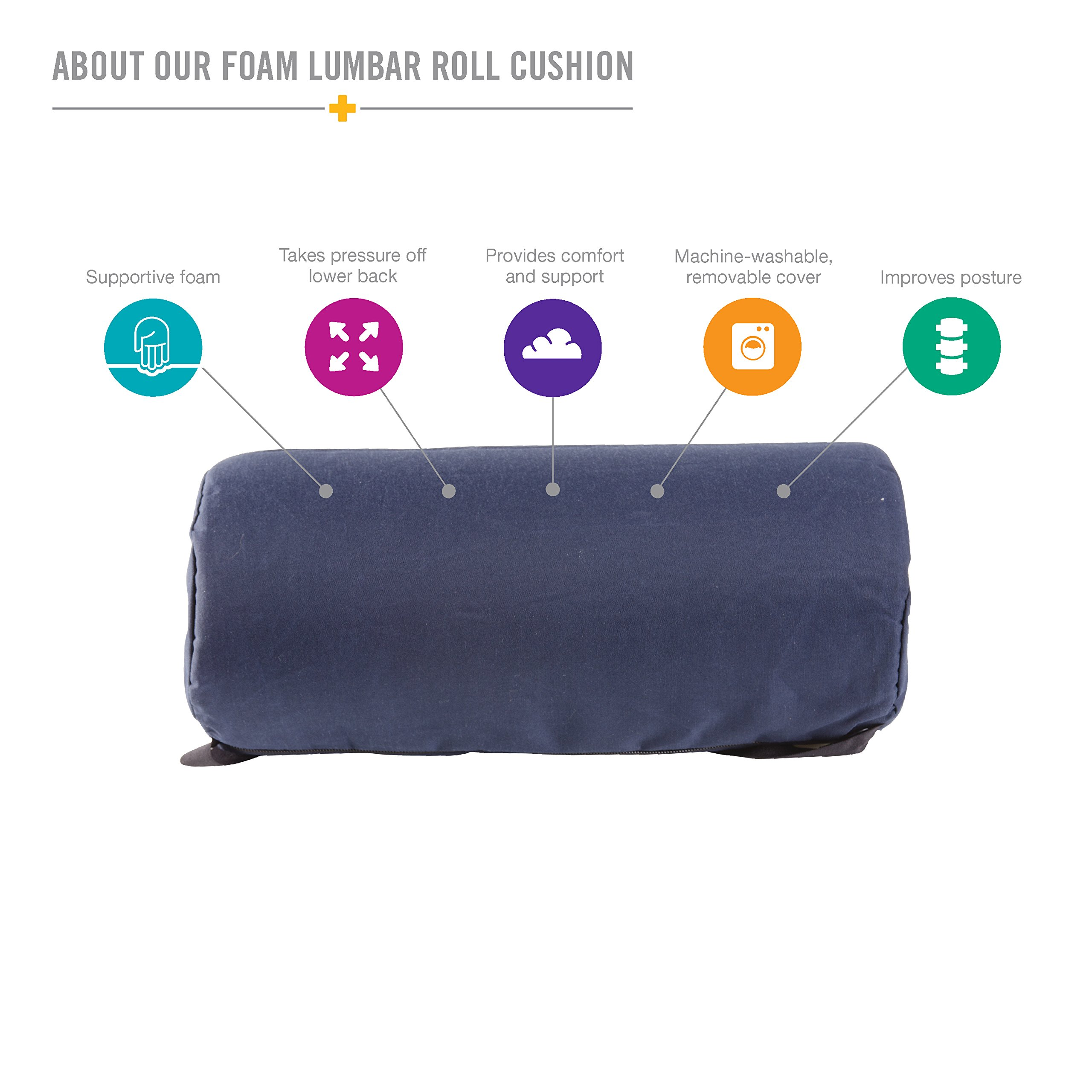 DMI Lumbar Roll Back Support Cushion Pillow - Foam Lumbar Cushion with Cover and Strap, Navy by Duro-Med (Image #2)