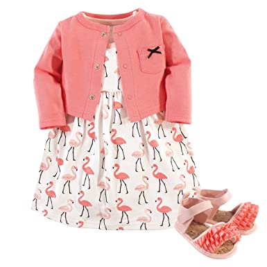 9c5b8165d85f Hudson Baby Baby Girls' 3 Piece Dress, Cardigan, Shoe Set, Flamingos,